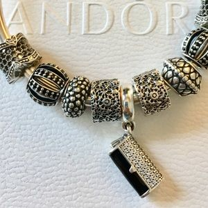 Pandora Clutch Bag Dangle Charm, Black Enamel & CZ